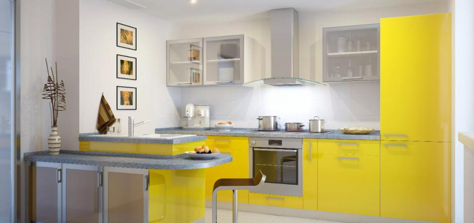 Бело-желтая кухня: сочетание оттенков и выбор мебели