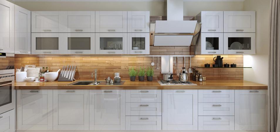 Белый гарнитур на кухне – экстравагантный интерьер