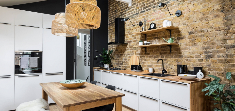 Кухня без верхних навесных шкафов: дизайн и 218 реальных фото