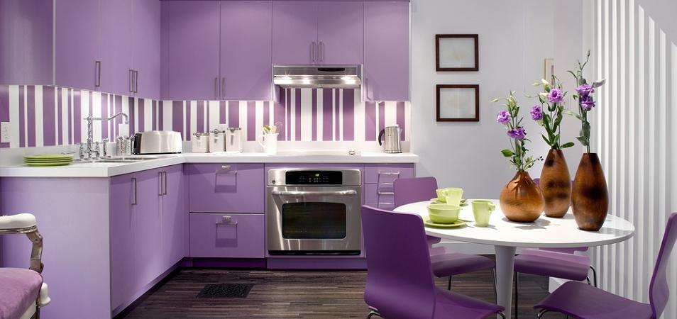 Фиолетовая кухня: особенности и фото
