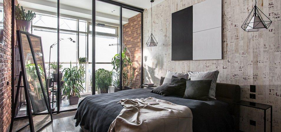 Спальня в стиле лофт: примеры дизайна, 50+ фото