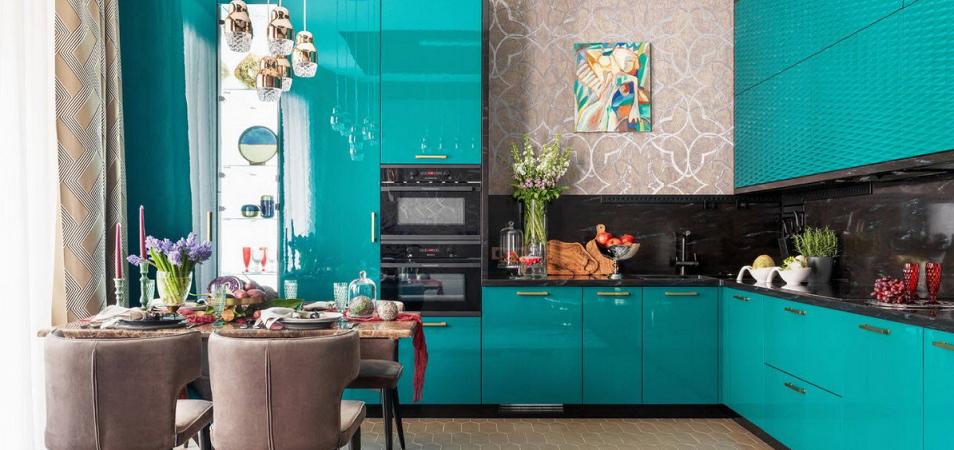 Кухни в бирюзовом цвете: плюсы и минусы, правила оформления, особенности