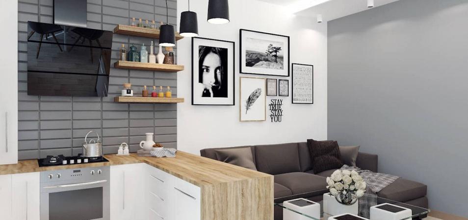 Кухня-студия: планировка, зонирование, формы кухонных гарнитуров, выбор мебели и техники