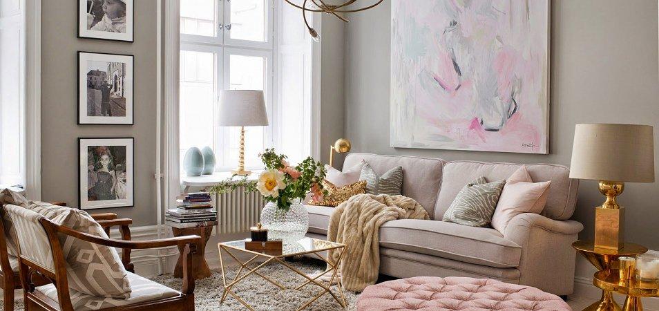 Пудра в интерьере: сочетания, помещения, мебель, декор. 50 реальных фото