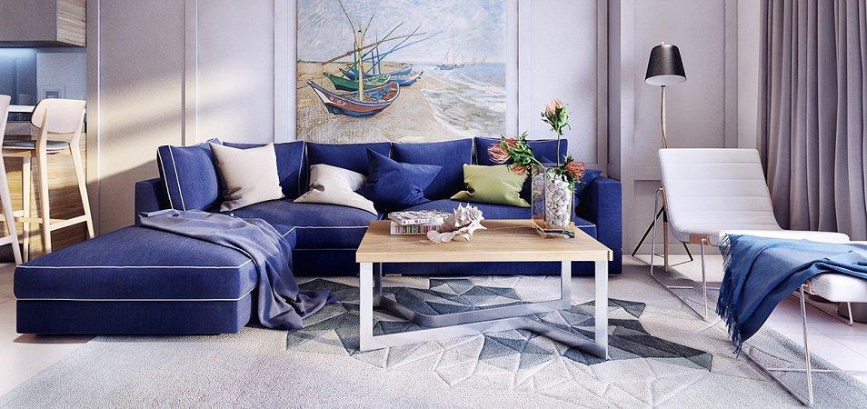 Синий диван в интерьере: с чем сочетать и как расположить