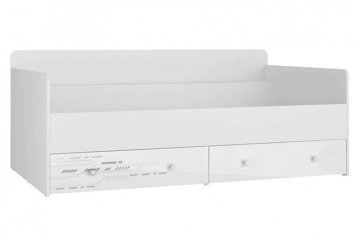 Кровать Модерн - Техно Белый глянец/ Бело-серый