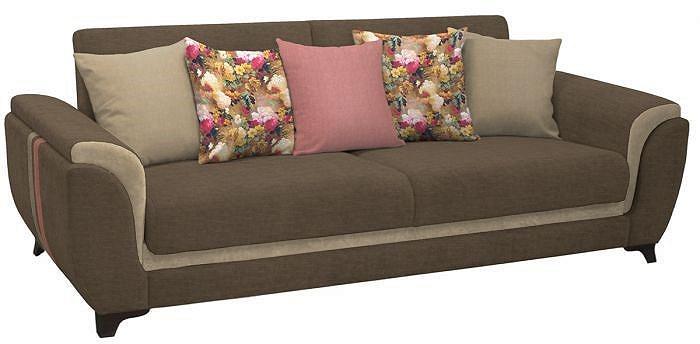 Прямой диван-кровать Эмма Лаундж 10 коричневый/Фибра 2505/02 яркие цветы/Лекко Коралл/Лекко Десерт фото