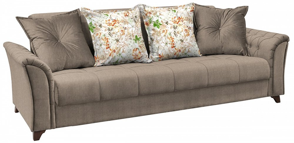 Прямой диван-кровать Ирис Лекко десерт/Фибра 2885/5 коричневые цветы фото