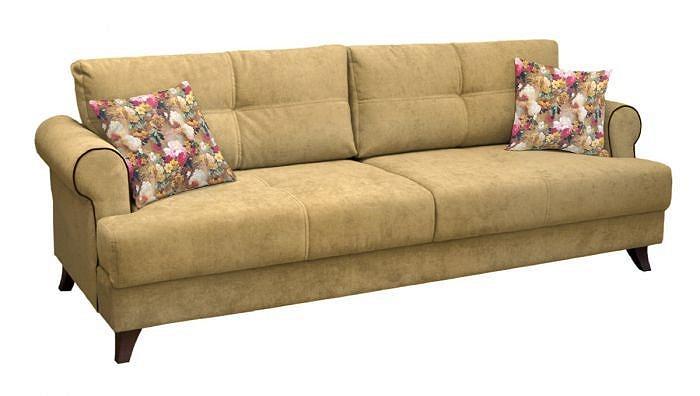 Прямой диван-кровать Мирта Толидо 02 песочный/Фибра 2505/02 яркие цветы фото