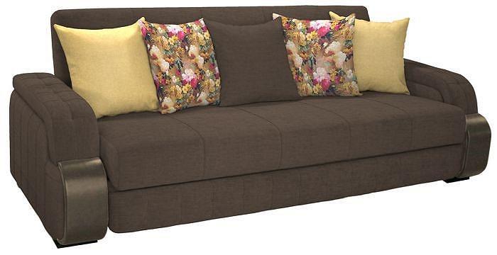 Прямой диван-кровать Николь Лаундж 10 коричневый/Фибра 2505/02 яркие цветы/Лекко Голд/Астор Кофе фото