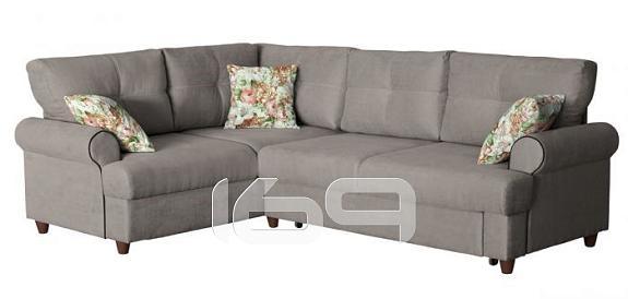 Купить Угловой диван-кровать правый Мирта Толидо 08 светло-серый/Фибра 2152/5 лилии в интернет магазине. Цены, фото, описания, характеристики, отзывы, обзоры