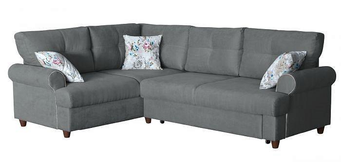 Угловой диван-кровать правый Мирта Толидо 32 серый/Фибра 2775/2 Розы фото