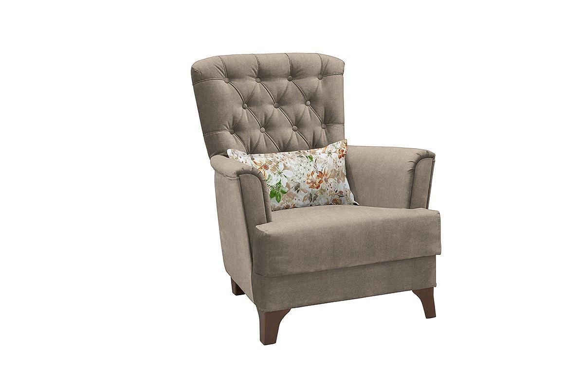 Кресло для отдыха Ирис Лекко десерт/Фибра 2885/5 коричневые цветы