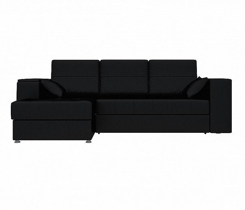 Угловой диван левый Атлантис Экокожа Черный