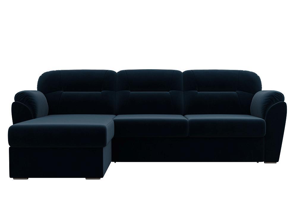 Угловой диван левый Бостон Велюр Синий фото
