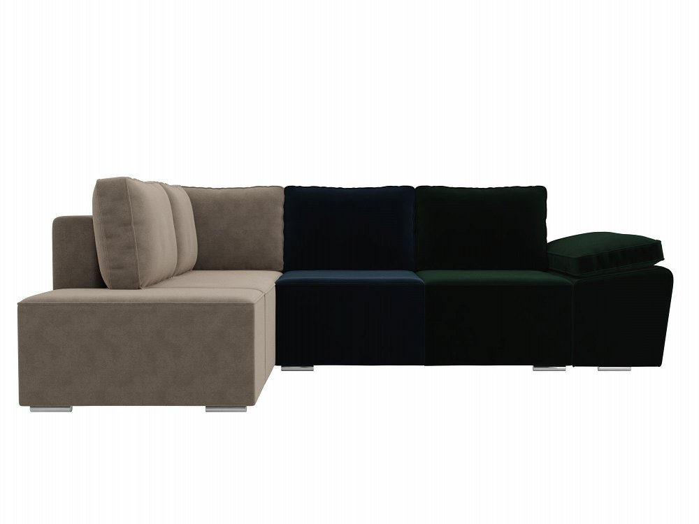 Угловой диван левый Хавьер Велюр Зеленый/Синий/Бежевый фото