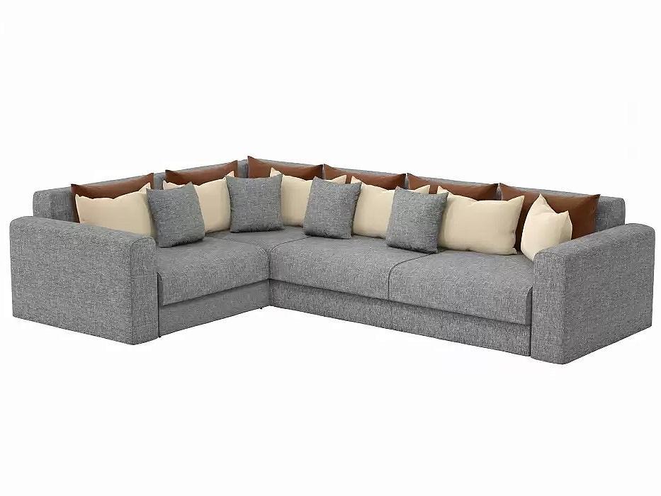 Угловой диван левый Мэдисон long Рогожка Серый с коричневыми и бежевыми подушками фото