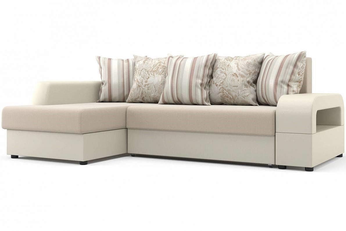 Угловой диван Марго (левый) Оптима 110/Десерт 117 Cream