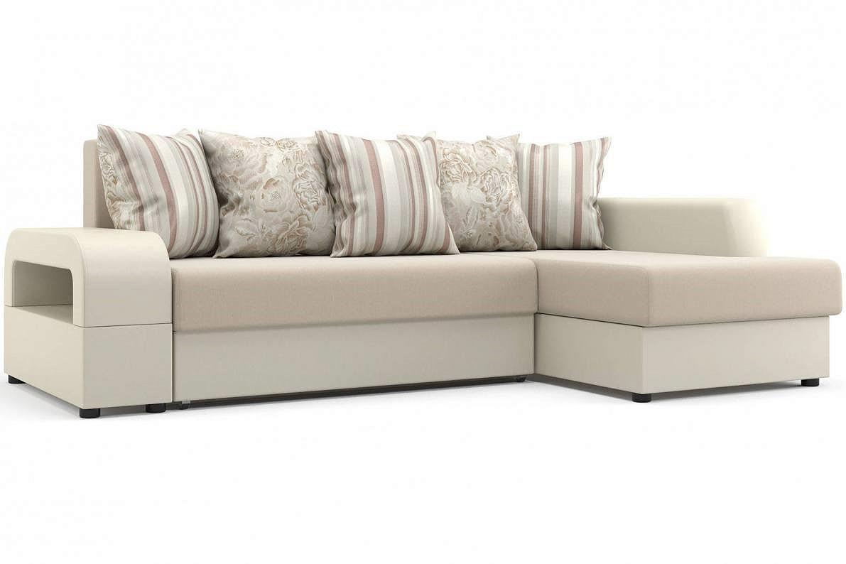 Угловой диван Марго (правый) Оптима 110/Десерт 117 Cream