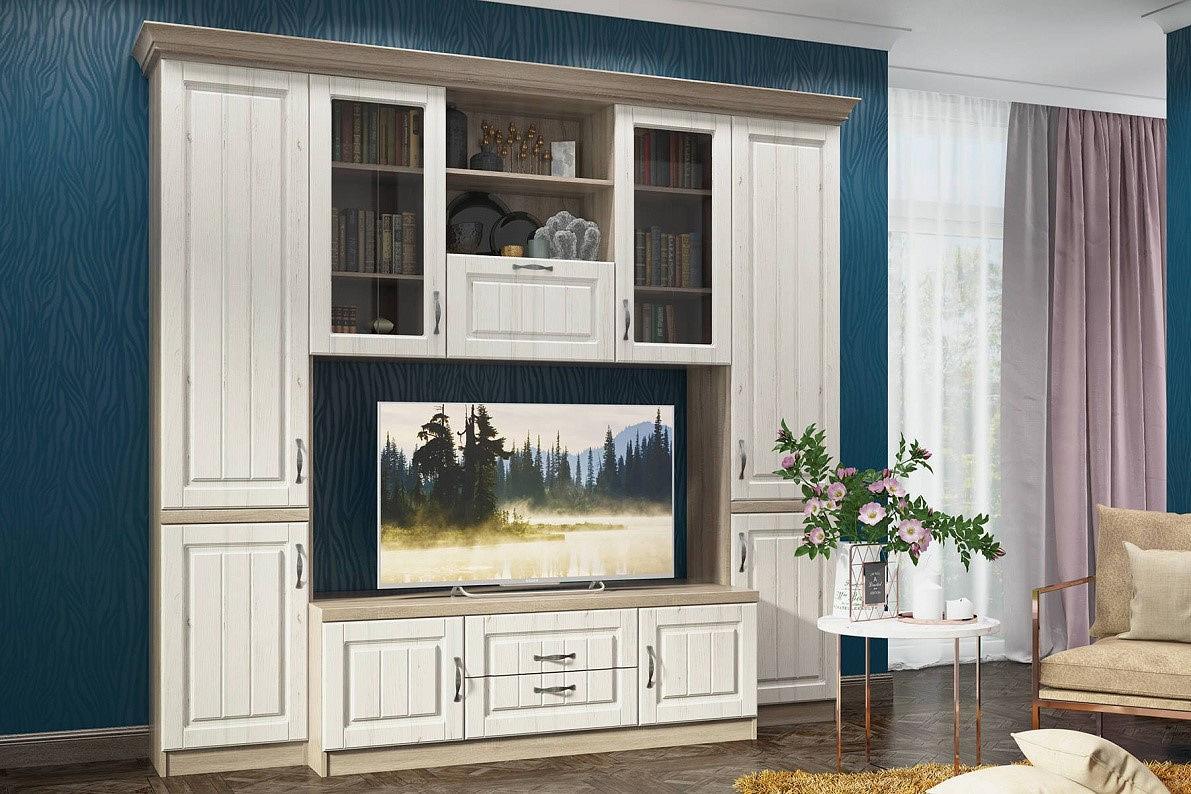 Гостиная Соната-04 Andersen Pine White/ Дуб сонома трюфель