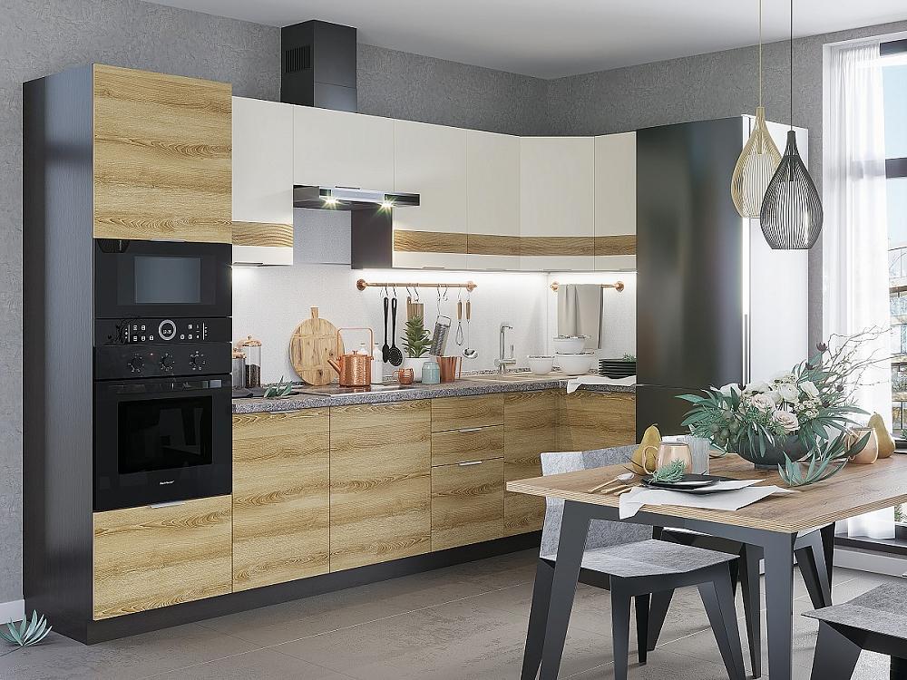 Угловая кухня Терра-03 Ваниль Софт/Ель Карпатская фото