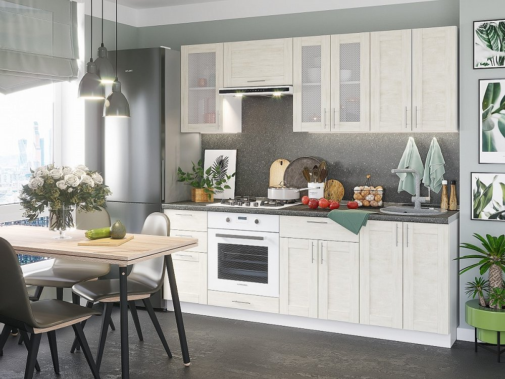 Прямая кухня Лофт-01 Nordic Oak