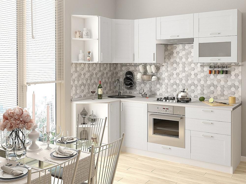 Угловая кухня Лофт-03 Snow Veralinga фото