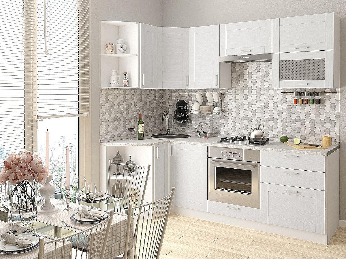 Угловая кухня Лофт-03 Snow Veralinga
