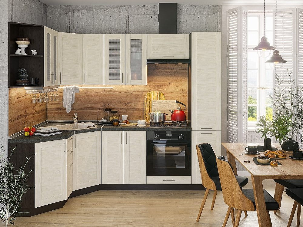 Угловая кухня Лофт-04 Nordic Oak фото