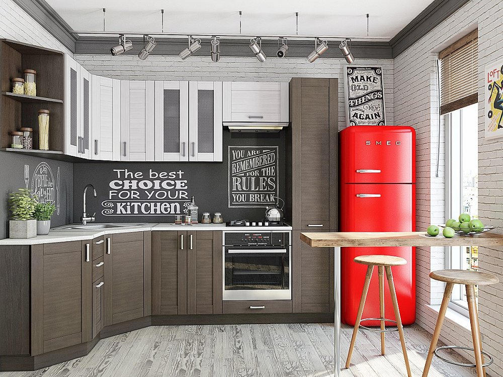 Угловая кухня Лофт-04 Snow Veralinga/Wenge Veralinga фото