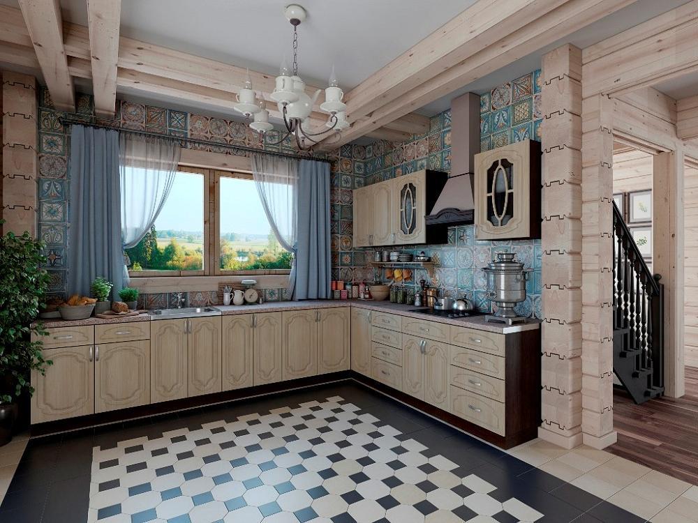 Угловая кухня Настя-02 Берёза фото