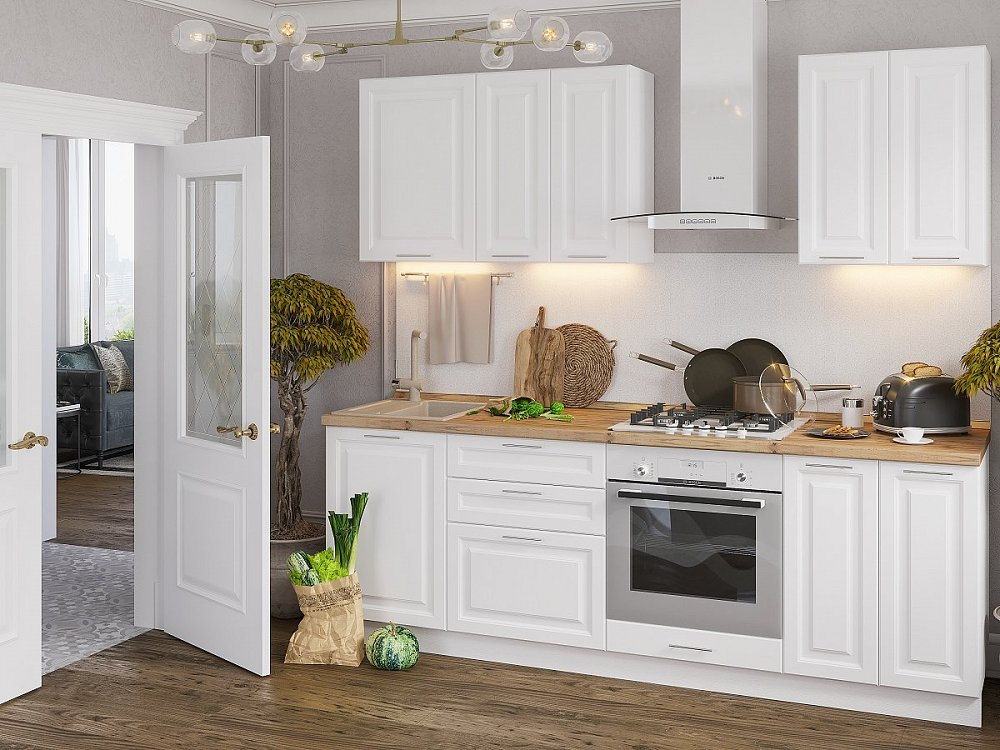 Прямая кухня Ницца Royal-01 Blanco фото