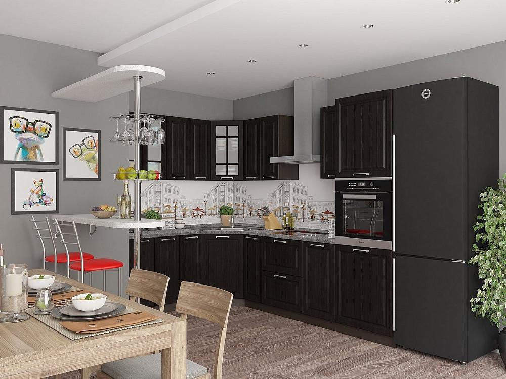 Угловая кухня Прага-03 Венге Премиум фото