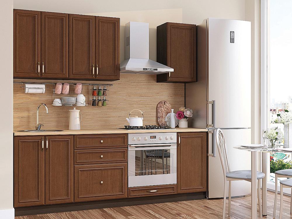 Прямая кухня Шале-01 Brown Oak фото