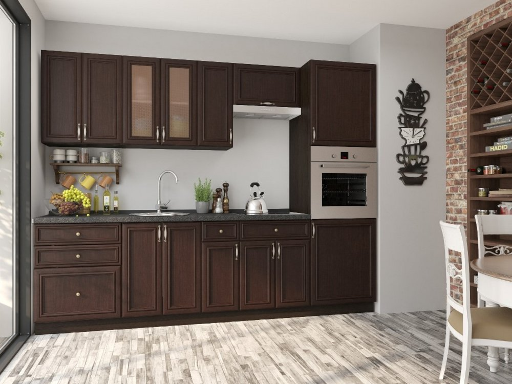 Прямая кухня Шале-02 Thermo Oak