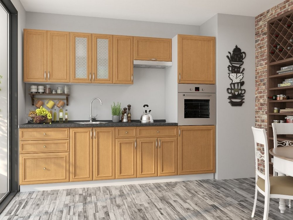 Прямая кухня Шале-02 Real Oak фото