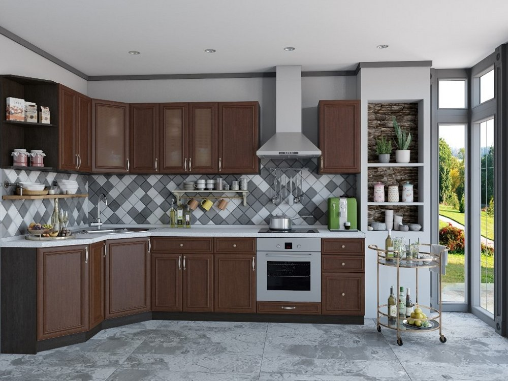 Угловая кухня Шале-03 Brown Oak фото
