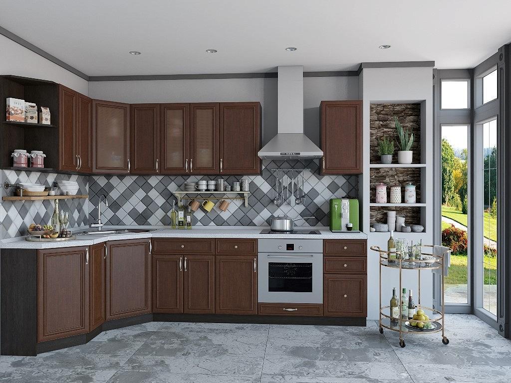 Угловая кухня Шале-03 Brown Oak