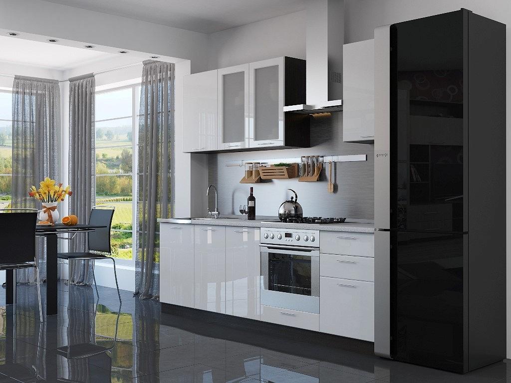 Купить со скидкой Прямая кухня Валерия-М-03 Белый глянец