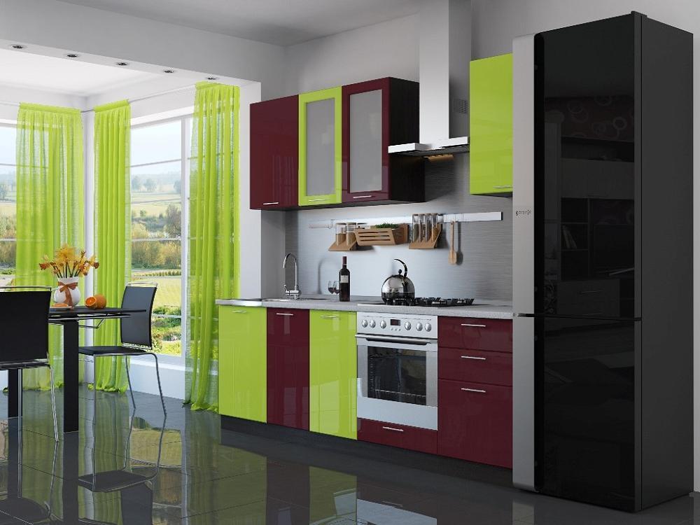 Прямая кухня Валерия-М-03 Лайм глянец/Бордовый глянец