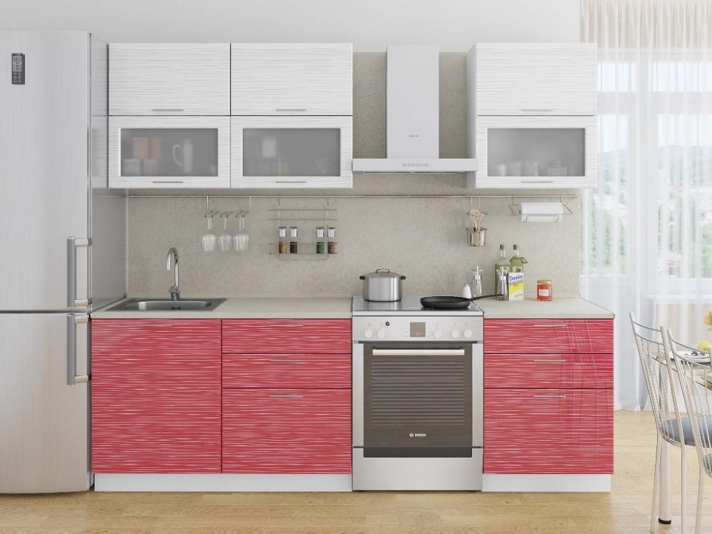 Прямая кухня Валерия-М-01 Белый глянец страйп/Красный глянец страйп фото