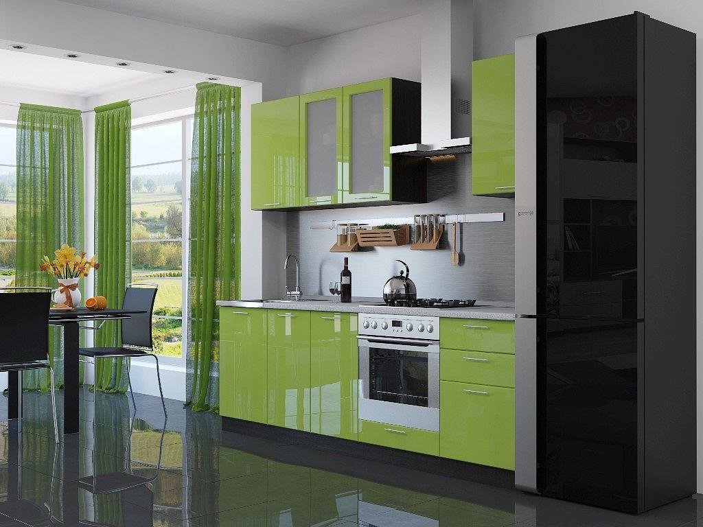 Фото Прямая кухня Валерия-М-03 Салатовый глянец