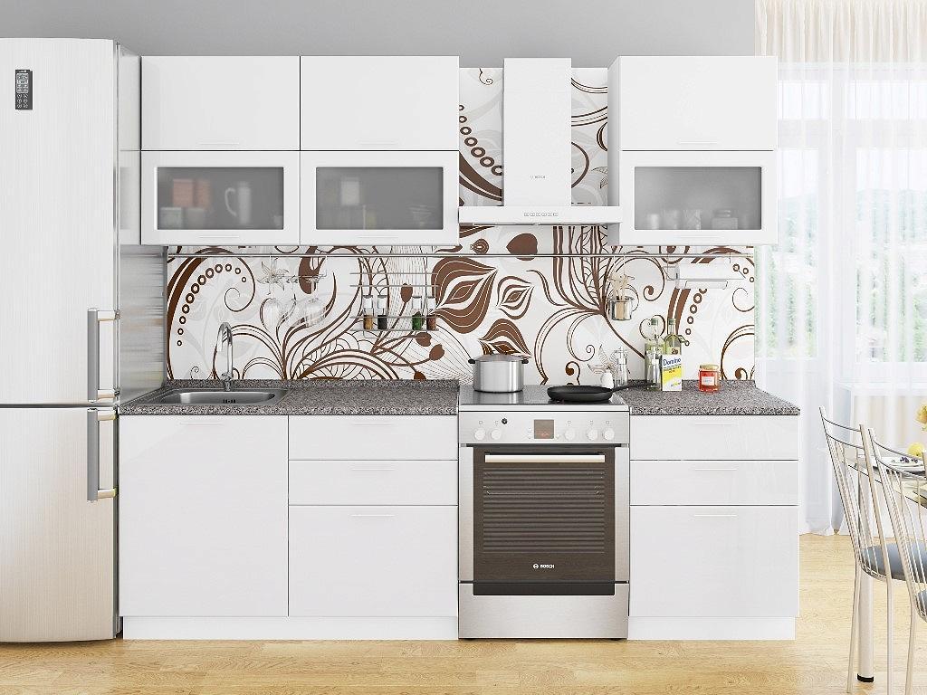 Прямая кухня Валерия-М-01 Белый глянец