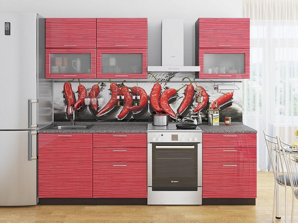 Прямая кухня Валерия-М-01 Красный глянец страйп