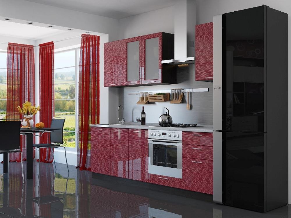 Прямая кухня Валерия-М-03 Красный глянец страйп