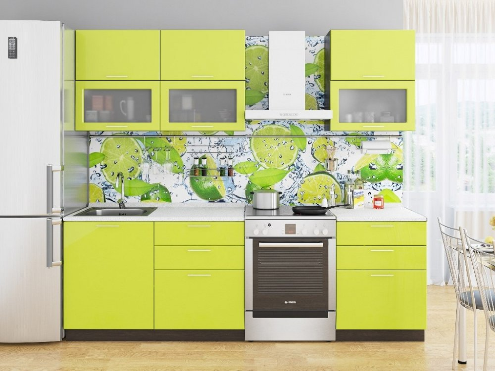 Прямая кухня Валерия-М-01 Лайм глянец фото