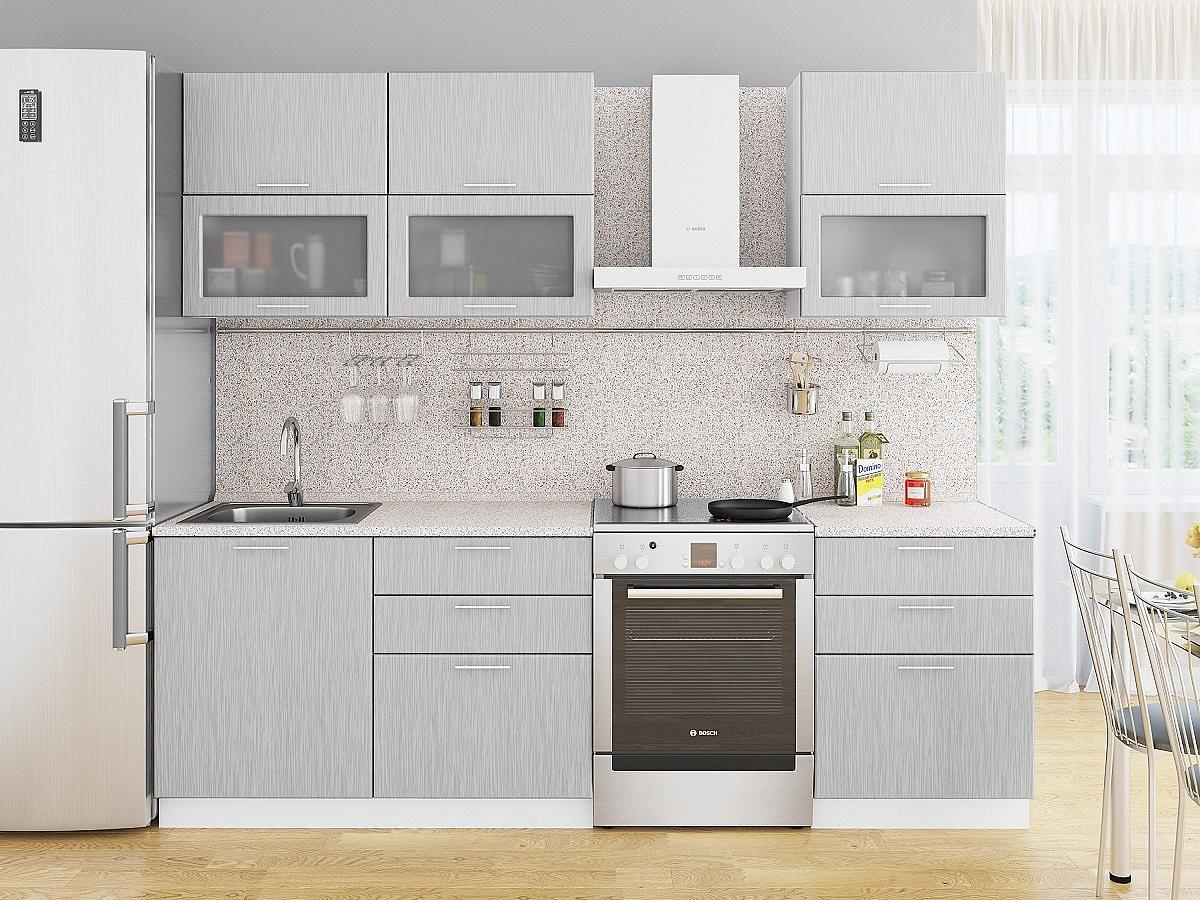 Прямая кухня Валерия-М-01 Серый металлик дождь светлый