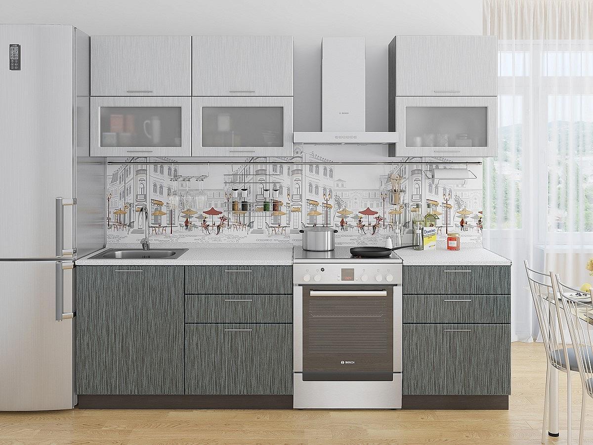 Прямая кухня Валерия-М-01 Серый металлик дождь светлый/Черный металлик дождь