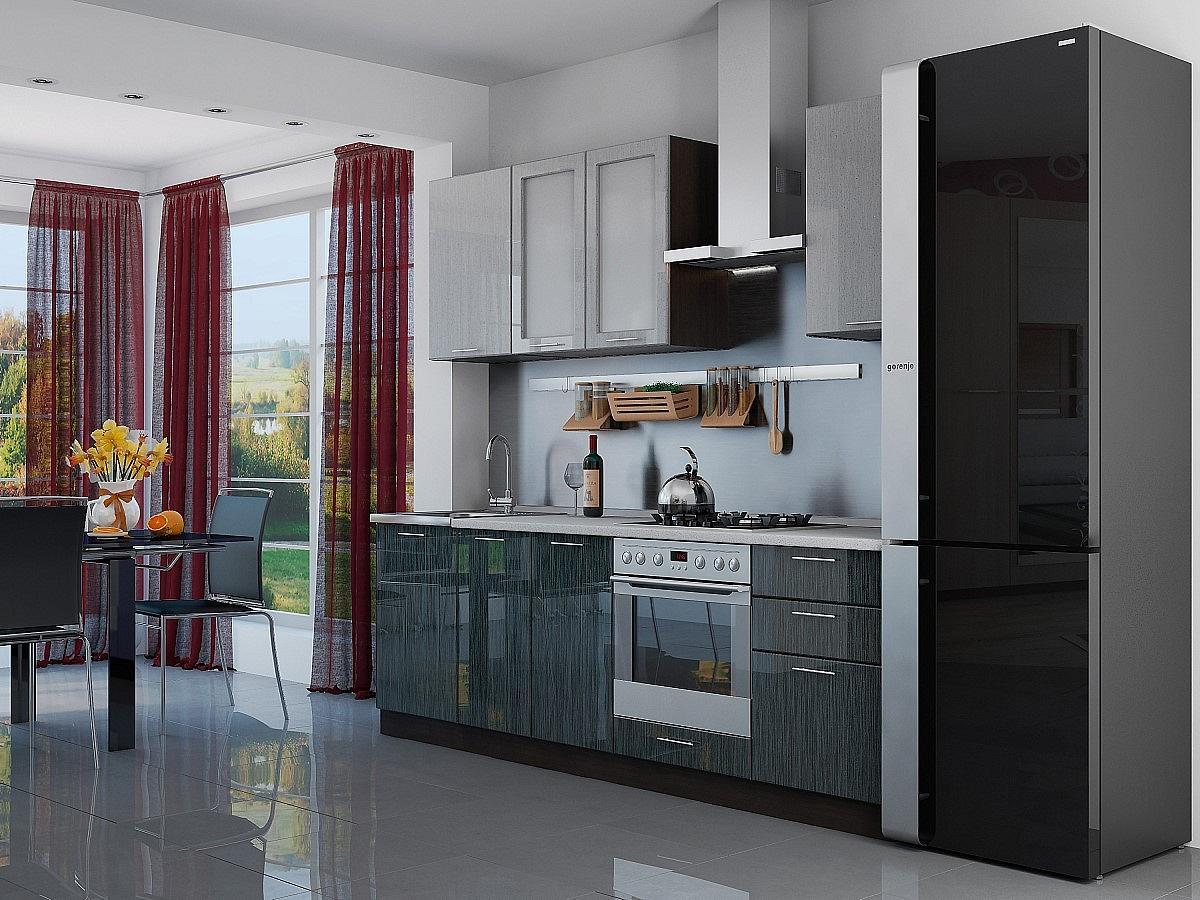 Прямая кухня Валерия-М-03 Серый металлик дождь светлый/Черный металлик дождь