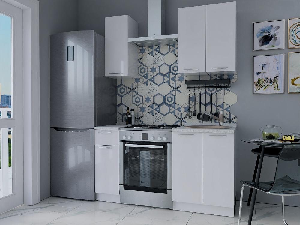 Прямая кухня Валерия-М-12 Белый глянец/Белый